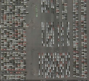 Vehicles Sit At GM Hamtrack, MI Plant as shown in Google Earth